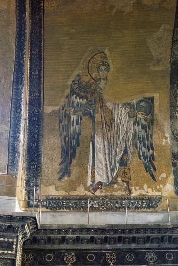 Mosaic Depicting Archangel Gabriel, Half Dome of Apse of Hagia Sophia, Historic Areas of Istanbul--Photographic Print