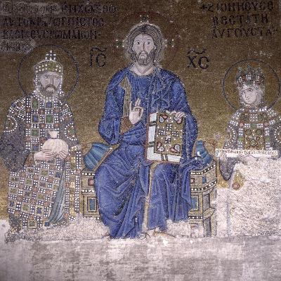 Mosaic Depicting Christ on Throne with Empress Zoe and Right to Her Third Husband--Photographic Print