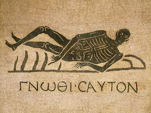 Mosaic Depicting Human Skeleton with Inscription Know Thyself