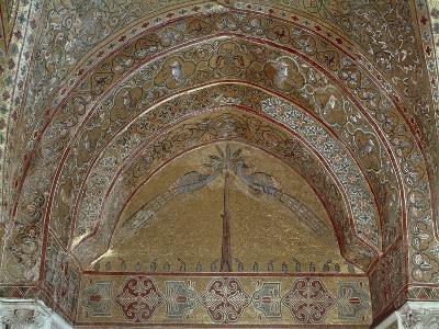 Mosaic Depicting Peacocks, Geometric and Vegetal Motifs, King Roger's Room--Giclee Print