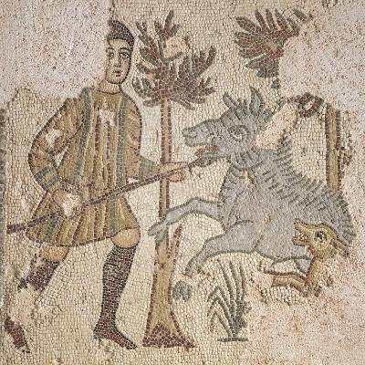 Mosaic Depicting Scene of Wild Boar Hunting, from Piazza Maria Immacolata in Taranto, Puglia--Giclee Print