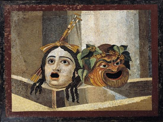 Mosaic Depicting Theatrical Masks, from Rome--Giclee Print