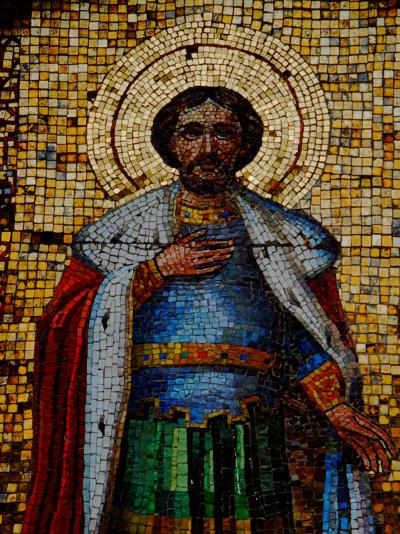 Mosaic Detail with Image of Christ, Alexander Nevsky Cathedral, Yalta, Ukraine-Cindy Miller Hopkins-Photographic Print