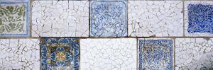 Mosaic Details on a Wall, Park Guell, El Carmel, Gracia, Barcelona, Catalonia, Spain