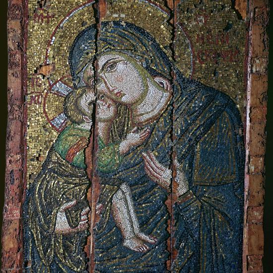 Mosaic ikon of the Virgin and Child, 14th century-Unknown-Giclee Print