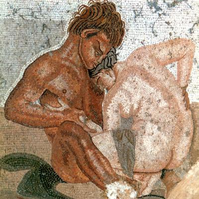 Mosaic of a Satyr and Nymph, House of Faun, Pompeii, Italy--Giclee Print