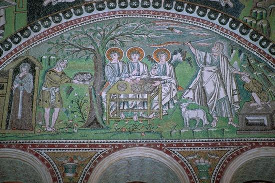 Mosaic of Abraham and three angels at the sacrifice of Isaac, 6th century. Artist: Unknown-Unknown-Giclee Print