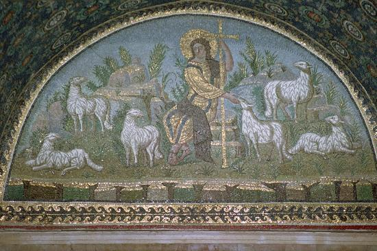 Mosaic of Christ the Good Shepherd, 5th century BC.. Artist: Unknown-Unknown-Giclee Print