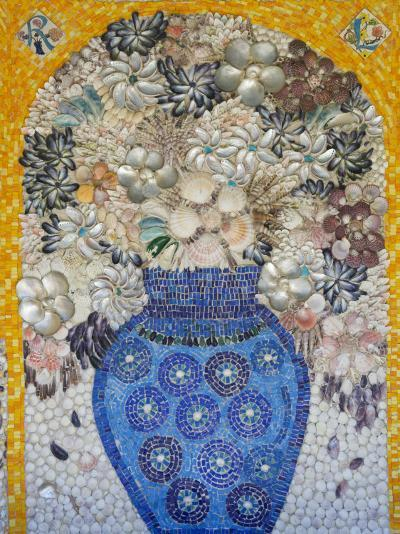 Mosaic of Flower Vase Made from Seashells and Mosaic Stones-Keenpress-Photographic Print