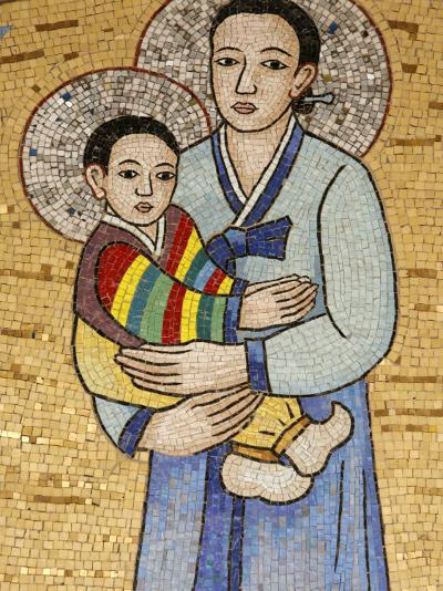 Mosaic of Korean Virgin, Annunciation Basilica, Nazareth, Galilee, Israel, Middle East-Godong-Photographic Print