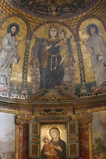 Mosaic of Mary and Jesus, Santa Francesca Romana Church, Rome, Lazio, Italy, Europe-Godong-Photographic Print