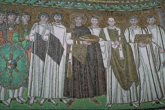 Mosaic of the Byzantine Emperor Justinian I and his court, 6th century. Artist: Unknown-Unknown-Giclee Print