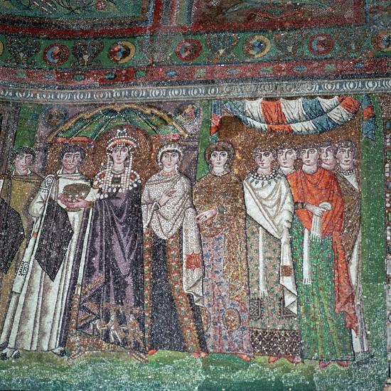 Mosaic of the Empress Theodora and her court, 6th century-Unknown-Giclee Print