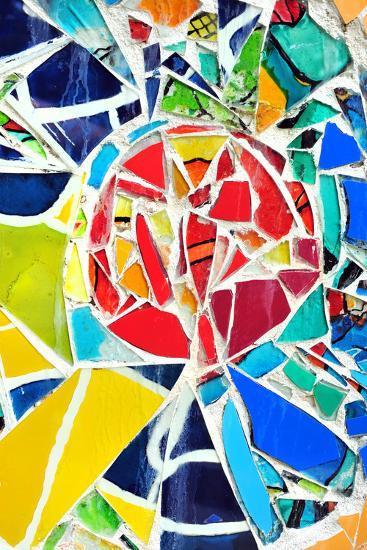 Mosaic Wall Decorative Ornament From Ceramic Broken Tile-tupikov-Photographic Print