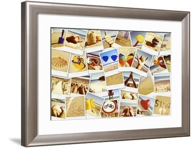 Mosaic with Pictures of Different Summer Scenes in Vintage Style.-nito-Framed Photographic Print
