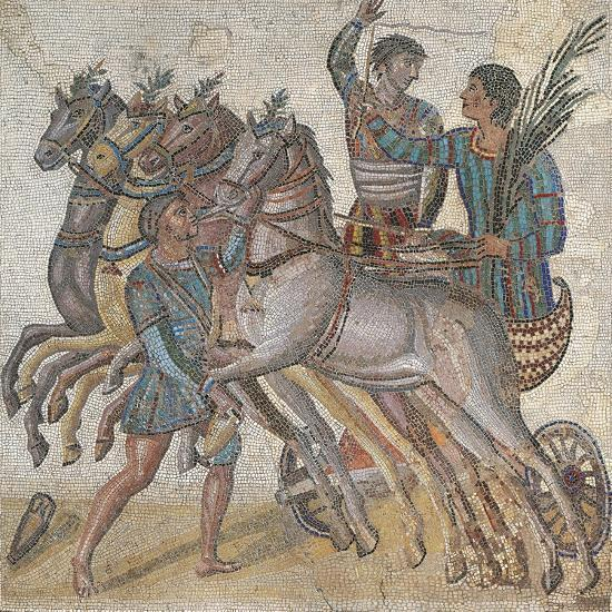 Mosaic Work Depicting a Chariot Race--Giclee Print