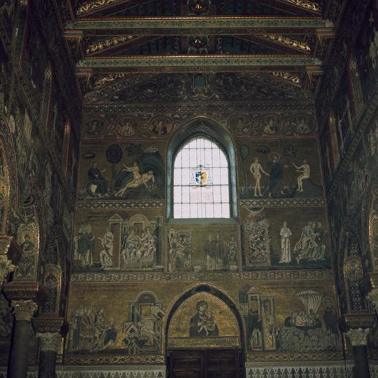 Mosaics above the west door of the Cathedral in Monreale, 12th century-Unknown-Photographic Print