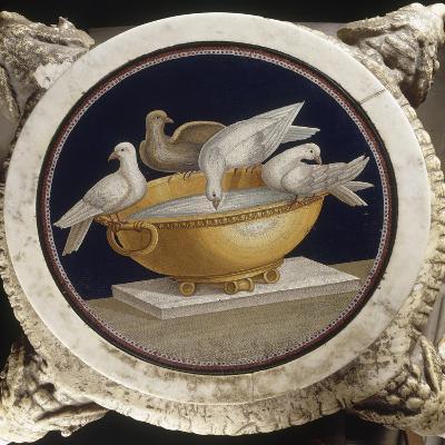 Mosaïque aux colombes sur un bassin--Giclee Print