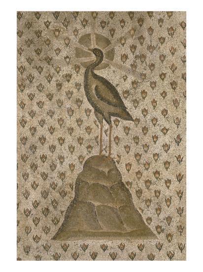 Mosaïque de sol : Le Phénix sur un semis de boutons de roses--Giclee Print