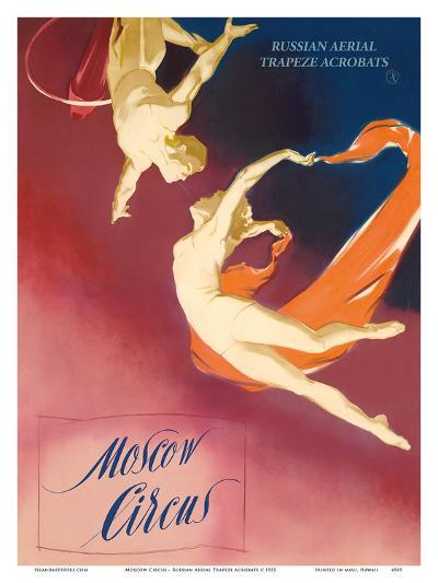 Moscow Circus - Russian Aerial Trapeze Acrobats-Pacifica Island Art-Art Print
