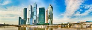 Moscow City Skyline . Moscow International Business Centre at Day Time with Moskva River in Foregro