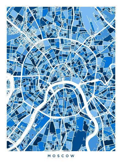Moscow City Street Map-Michael Tompsett-Art Print