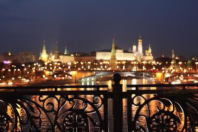 Moscow, Kremlin, Distant View from the Patriarshy Bridge, at Night-Catharina Lux-Photographic Print
