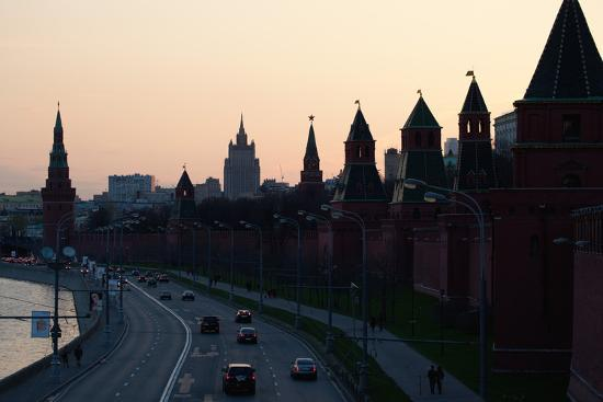 Moscow, Kremlin Shore, Riverside Road, Dusk, Silhouettes-Catharina Lux-Photographic Print