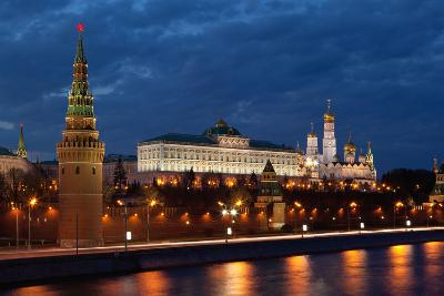 Moscow, Kremlin, View from the Moskva Shore, at Night-Catharina Lux-Photographic Print