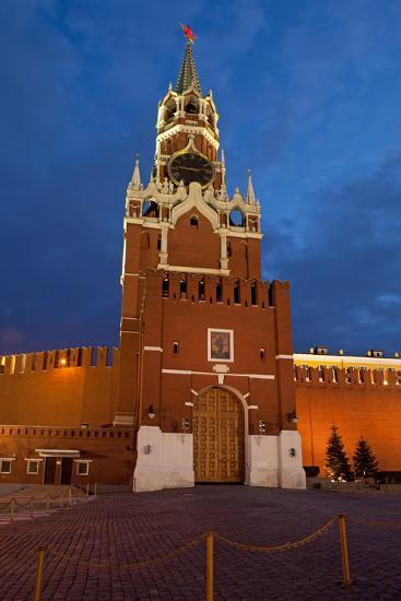 Moscow, Red Square, Redeemer Tower, at Night-Catharina Lux-Photographic Print