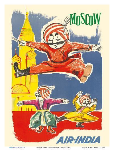 Moscow Russia - Air India Mascot Maharaja - Barynya Russian Folk Dance-J^B^ Cowasji-Art Print