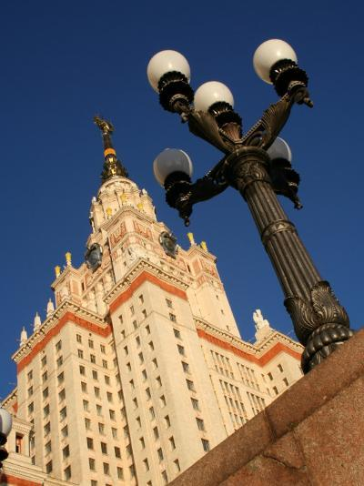 Moscow State University with Lamp-Post in Foreground, Moscow, Russia-Jonathan Smith-Photographic Print