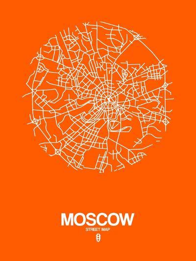 Moscow Street Map Orange-NaxArt-Art Print