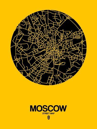 Moscow Street Map Yellow-NaxArt-Art Print