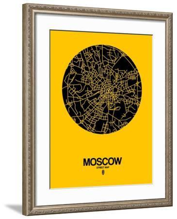 Moscow Street Map Yellow-NaxArt-Framed Art Print