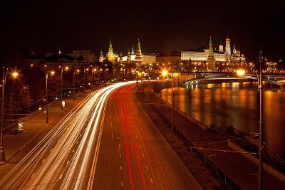 Moscow, Traffic on the Moskva Shore, Kremlin, at Night-Catharina Lux-Photographic Print