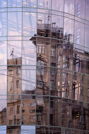 Moscow, Uliza Tverskaya, Modern Glass Front with Reflection-Catharina Lux-Photographic Print