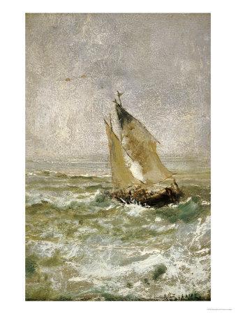A Sailing Boat in a Choppy Sea