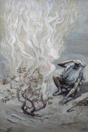 Moses Adores God in the Burning Bush James Tissot (1836-1902 French) Jewish Museum, New York-James Tissot-Giclee Print