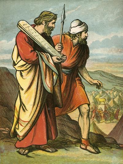 Moses and Joshua Seeing the Golden Calf-English School-Giclee Print