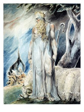 Moses and the Burning Bush-William Blake-Premium Giclee Print