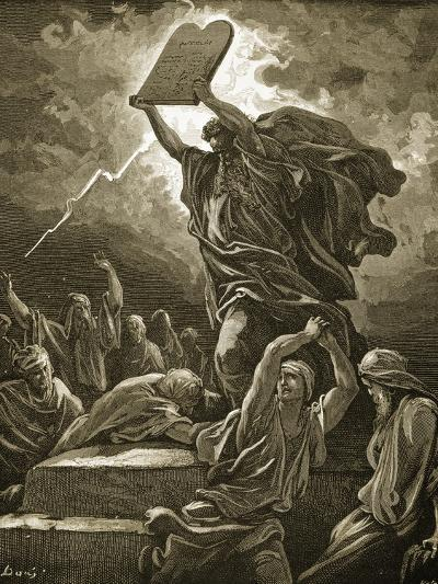 Moses Breaking the Tablets of the Law-Gustave Dor?-Giclee Print