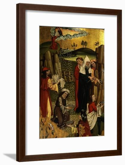 Moses Brings Forth Water from Rock and Manna from Desert, Gothic Czechoslovakian, 1480-90--Framed Giclee Print