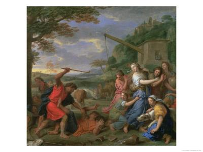 Moses Defending the Daughters of Jethro-Charles Le Brun-Giclee Print