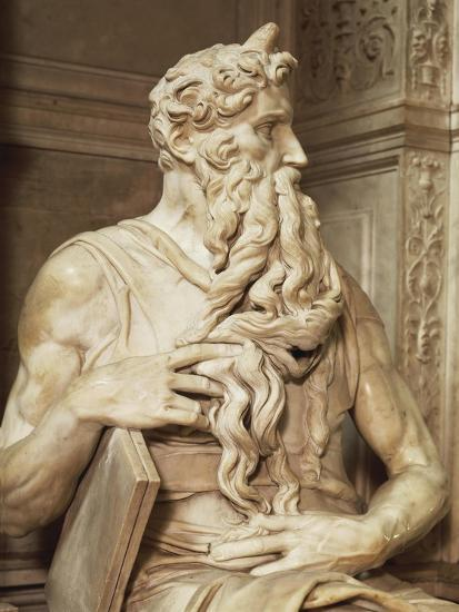 Moses, Detail from the Tomb of Julius II, Circa 1515-Michelangelo Buonarroti-Giclee Print