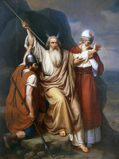 Moses in Rephidim Where the Water Source Feeds From, 1856, Painting by Joaquin Ramirez--Giclee Print