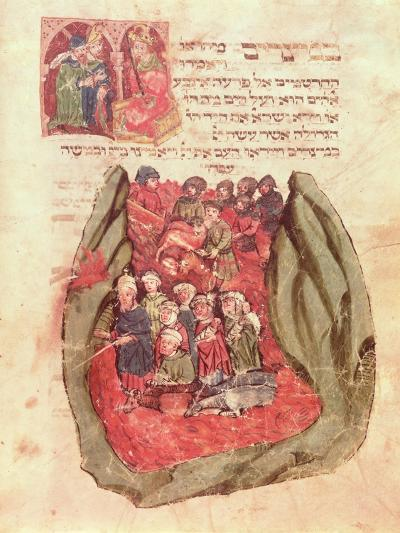 Moses Leads the Children of Israel Across the Red Sea from a Jewish Prayer Book, Hamburg, 1427--Giclee Print