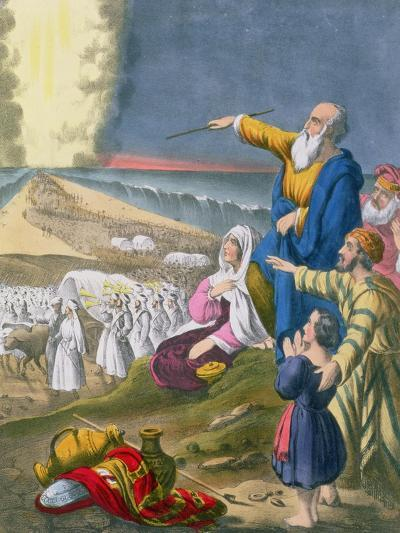 Moses Parting the Red Sea, from a Bible Printed by Edward Gover, 1870s-Siegfried Detler Bendixen-Giclee Print