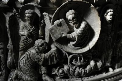 Moses Receives the Law. Baptismal Font. 12th Century. Basilica of San Frediano. Lucca--Photographic Print