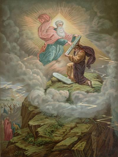 Moses Receives the Tablets of the Law from God on Mount Sinai--Giclee Print